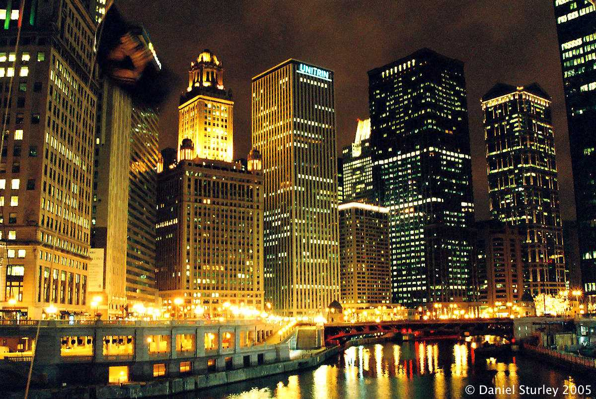 Chicago, By the River at Night - November 2005