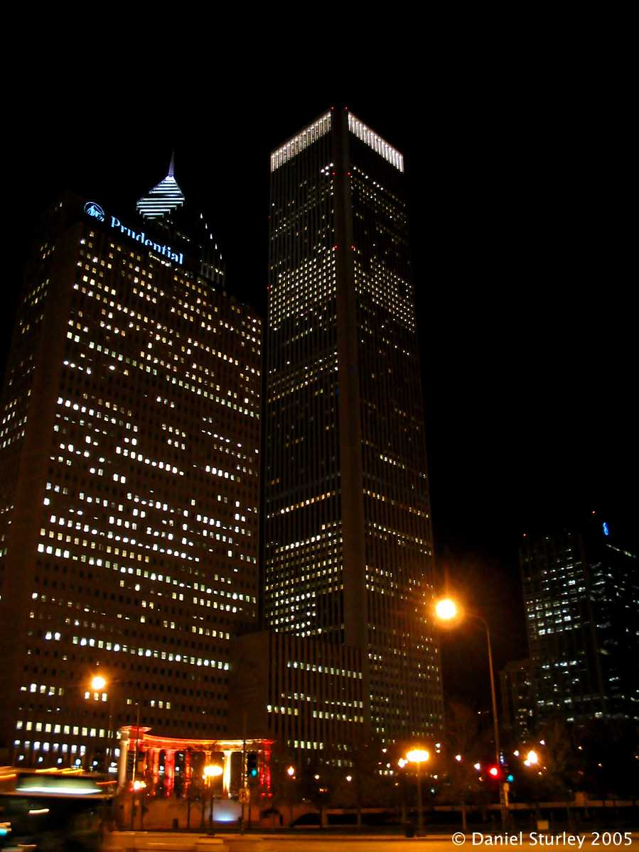 Chicago, a View from the Magnificent Mile at Night - November 2005