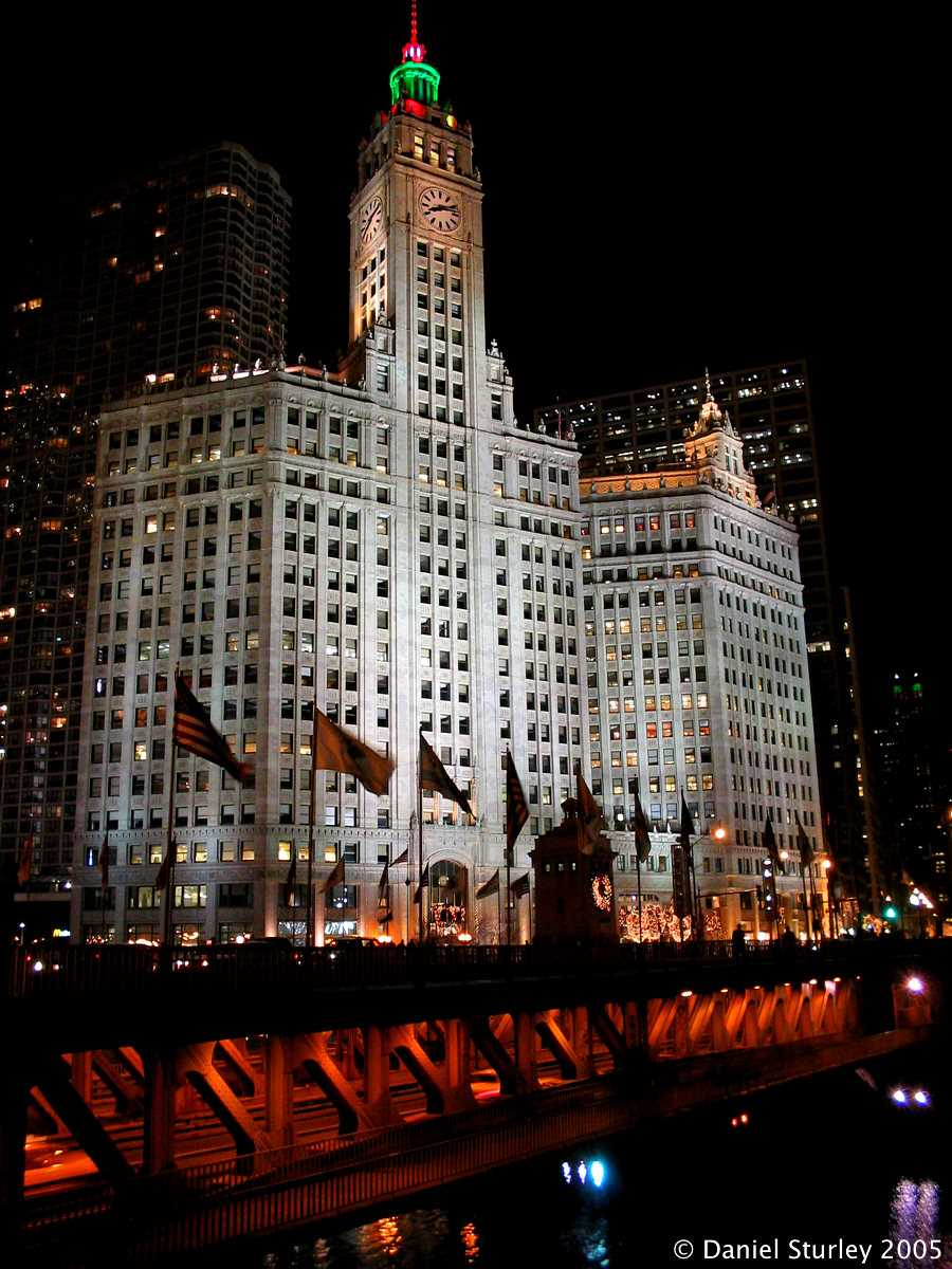Chicago, the Wrigley Building at Night - November 2005