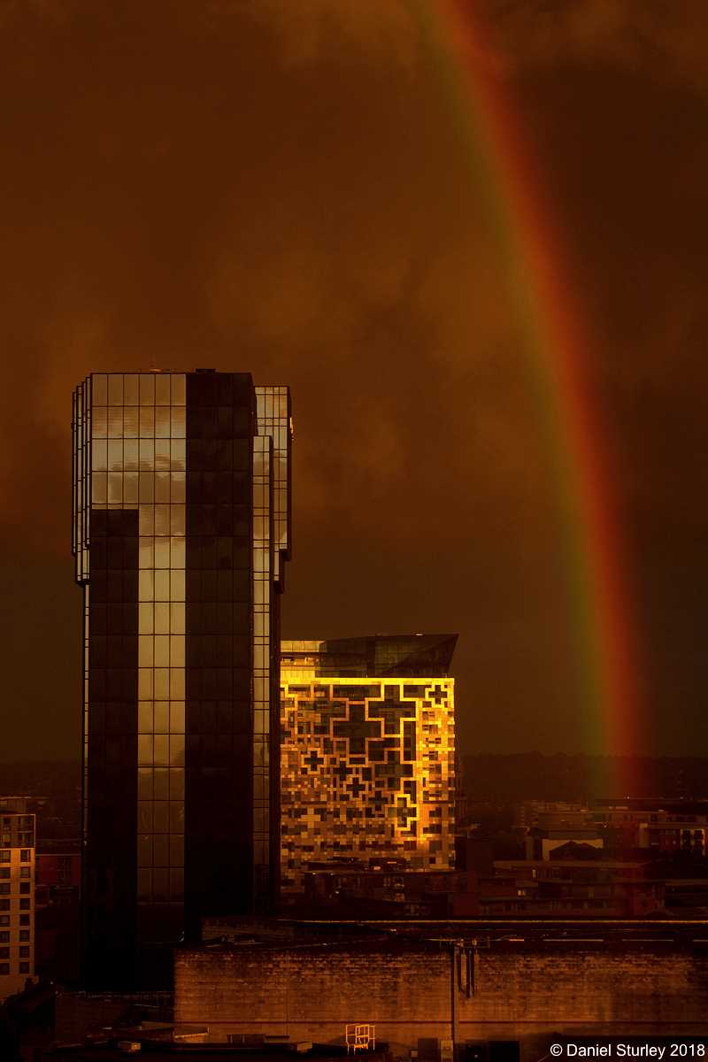A Rainbow Accompanies the Hyatt Regency Hotel and The Cube - July 28th 2018