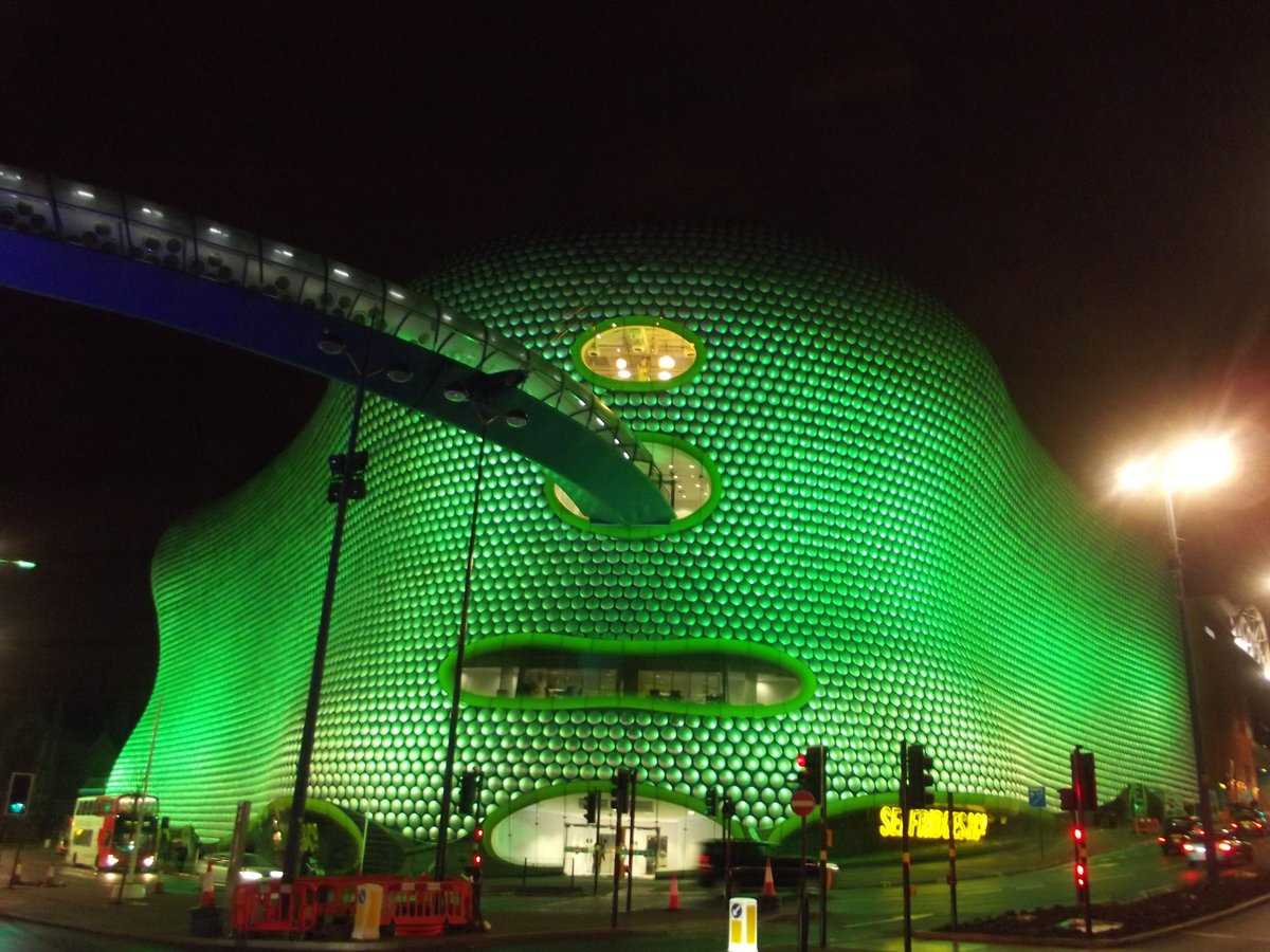 Selfridges, Birmingham all lit up for St.Patrick's Day celebrations - 16th March 2013